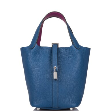 View 1. Thumbnail of Lot 8. Hermès Deep Blue and Anemone Picotin Lock 18cm of Clemence Leather with Palladium Hardware.