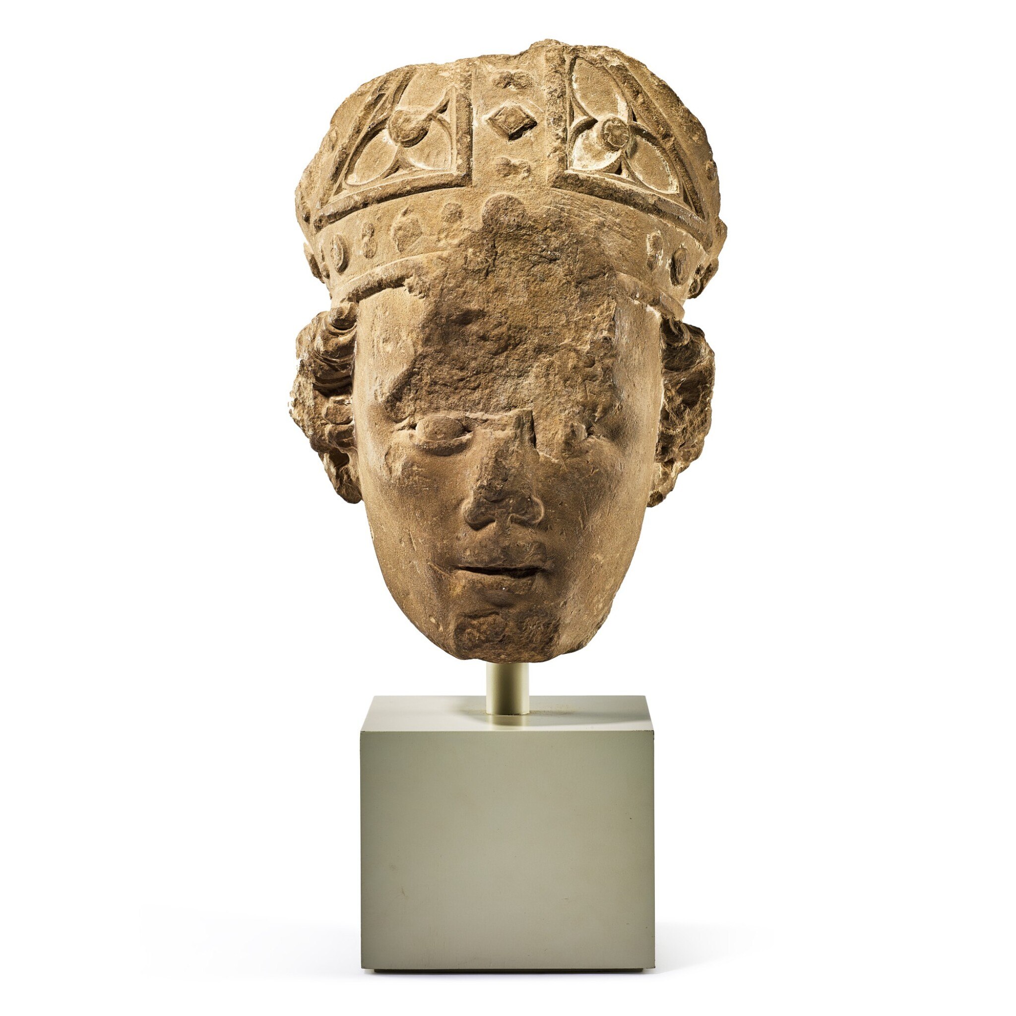View full screen - View 1 of Lot 2010. A fragmentary medieval French limestone head of a bishop 14th century   十四世紀 法國石灰岩雕戴冠主教頭像殘件.