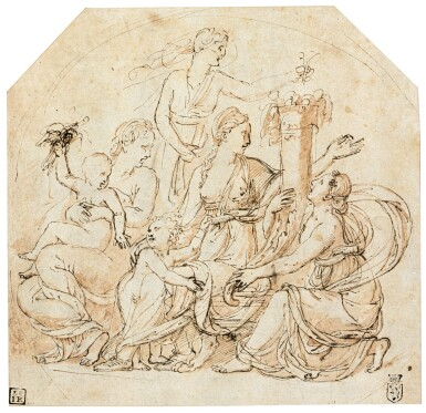 View 1. Thumbnail of Lot 9. An Allegory of Abundance in a drawn circle.
