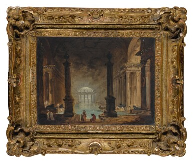 View 2. Thumbnail of Lot 31. HUBERT ROBERT | VIEW OF A ROMAN BATH WITH FIGURES IN THE FOREGROUND .