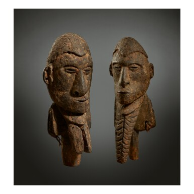 PAIR OF SACRED FLUTE FIGURES, PROBABLY SAWOS OR IATMUL