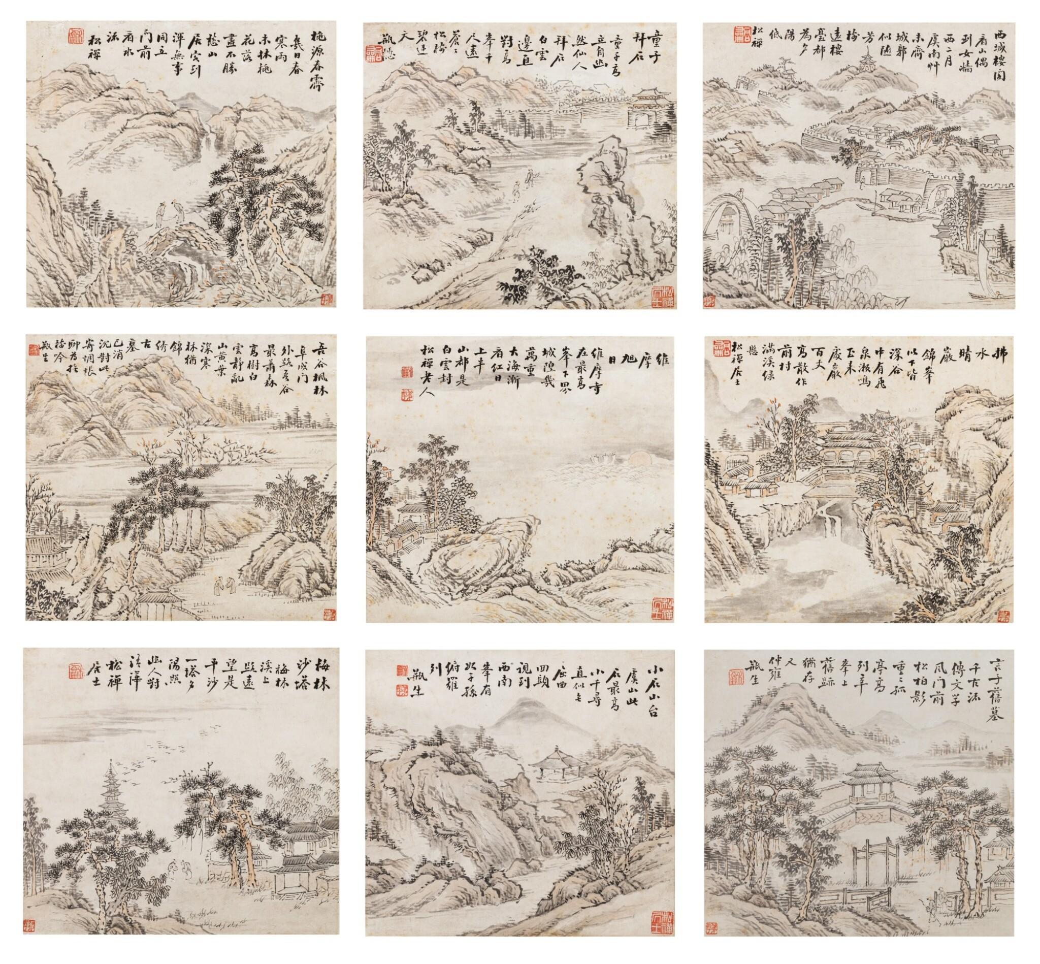 View 1 of Lot 121. Weng Tonghe (1830-1904) Ensemble de neuf peintures de paysage | 翁同龢 山水圖 一組九幀 | Weng Tonghe (1830-1904) Set of Nine Landscapes, ink and colour on paper, hanging scrolls.