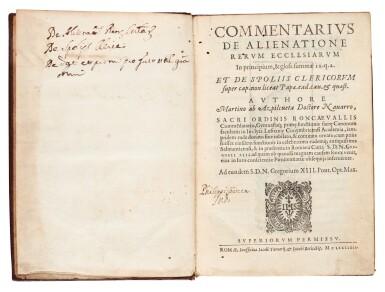 View 2. Thumbnail of Lot 56. Azpilcueta, Commentarius de alienatione, Rome, 1584, contemporary morocco with arms of Cardinal Boncompagni.