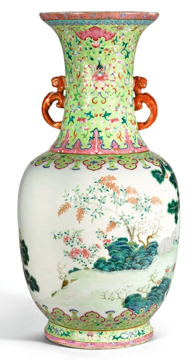 View 2. Thumbnail of Lot 162. A FINE AND RARE LARGE LIME-GREEN GROUND FAMILLE-ROSE 'THREE RAMS' VASE QING DYNASTY, DAOGUANG PERIOD SHENDETANG HALL MARK   清道光 綠地粉彩通景三羊開泰雙螭耳大瓶 《慎德堂製》款.