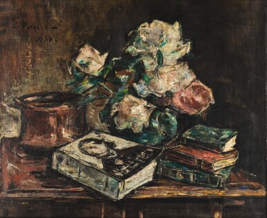 View 1. Thumbnail of Lot 56. GHEORGHE PETRASCU | STILL LIFE WITH ROSES AND BOOKS.