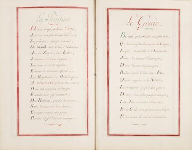 View 3. Thumbnail of Lot 41. [DROUAIS]. Fête de madame Drouais. Manuscrit vers 1773-1774. Reliure en soie peinte et brodée..
