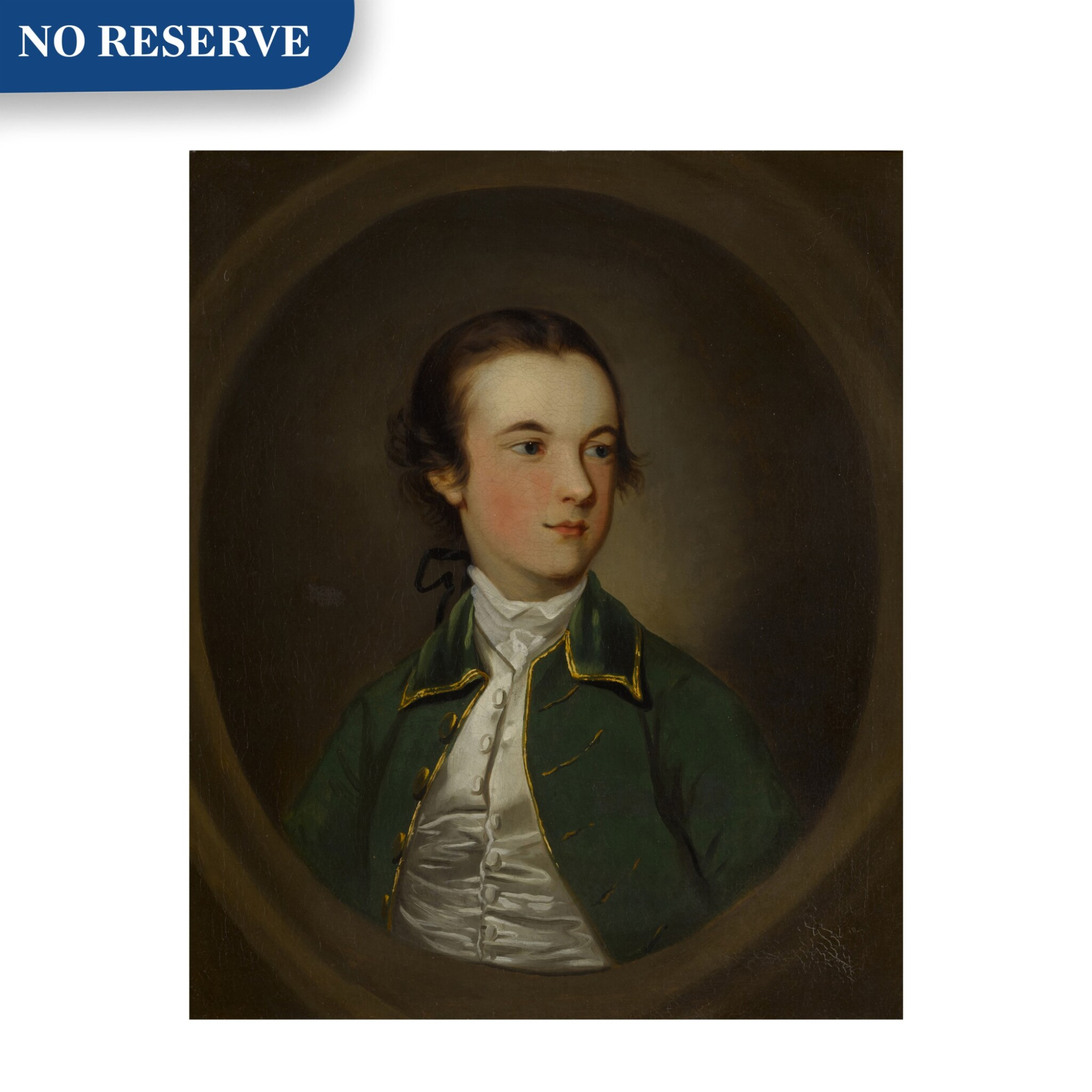 View full screen - View 1 of Lot 107. Portrait of a young boy, half length, wearing a green jacket.