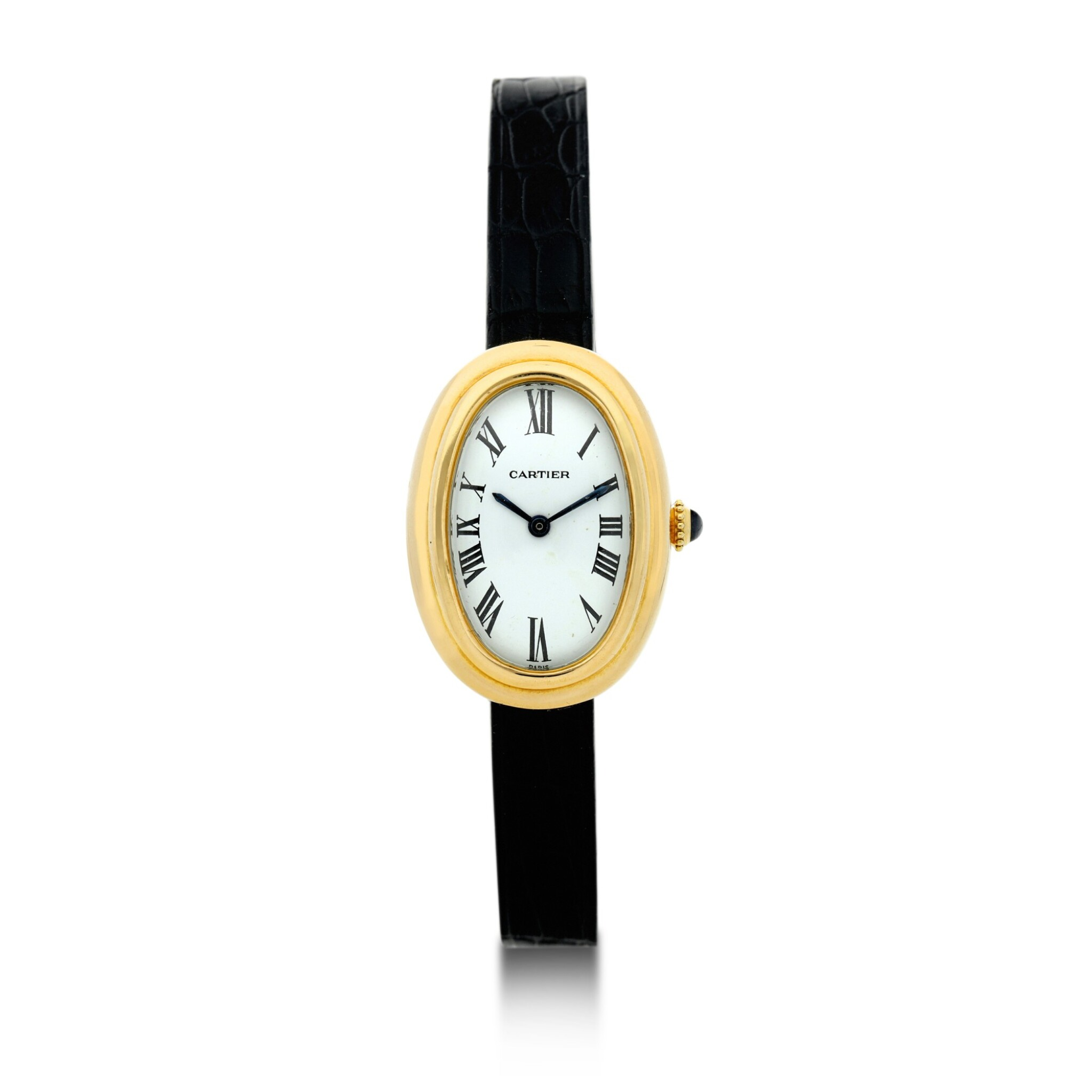 View full screen - View 1 of Lot 216. BAIGNOIRE A YELLOW GOLD WRISTWATCH WITH ENAMEL DIAL, CIRCA 1980.