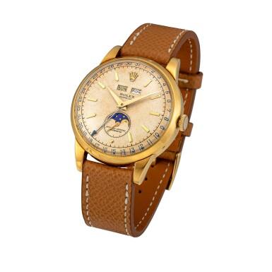 View 2. Thumbnail of Lot 41. 'Padellone', Ref. 8171 Yellow gold triple calendar wristwatch with moon phases Circa 1951 | 勞力士8171型號「Padellone」黃金全日曆腕錶備月相顯示,年份約1951.