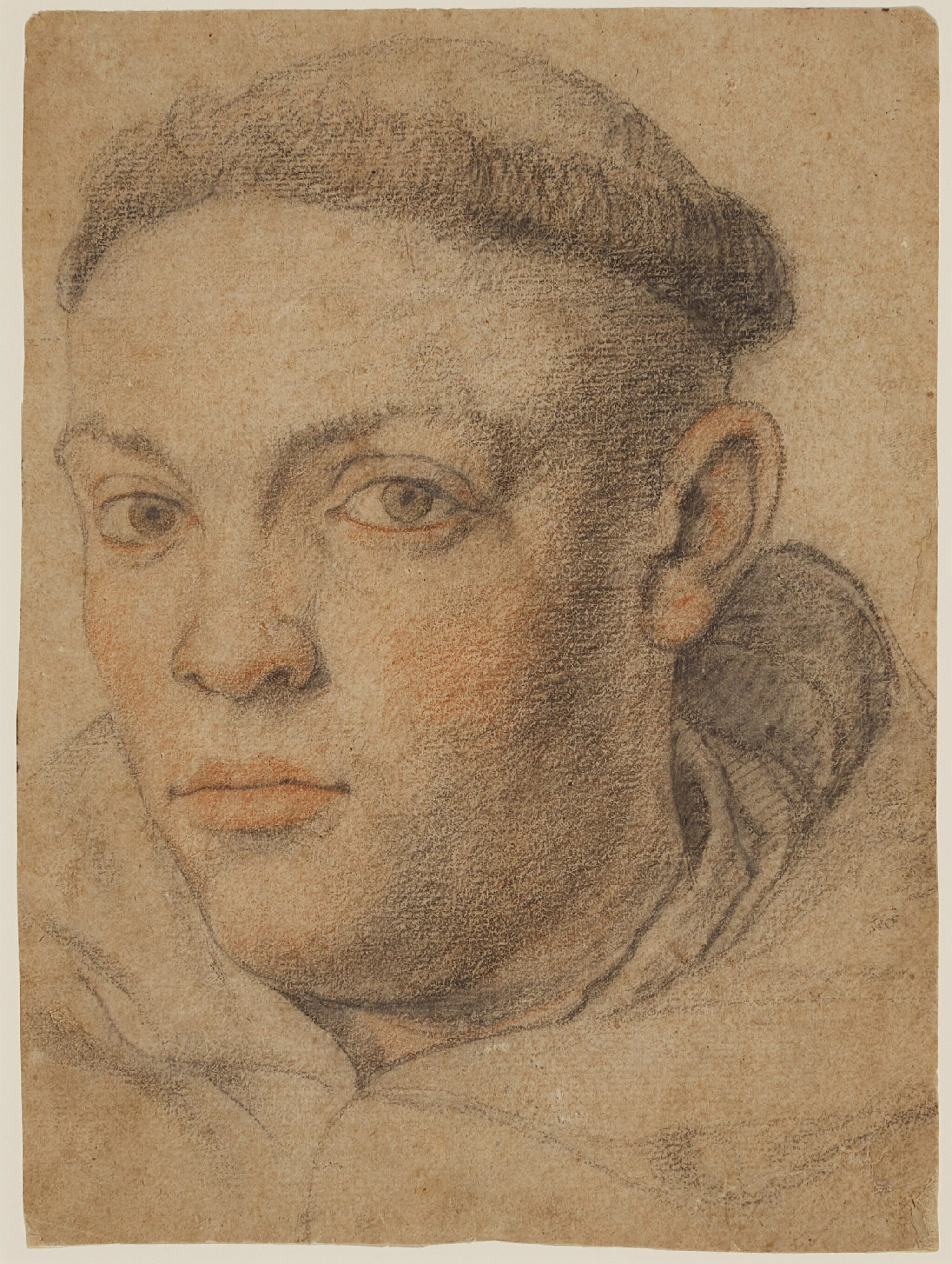 View full screen - View 1 of Lot 545. FRENCH SCHOOL, 17TH CENTURY | Head of a monk.