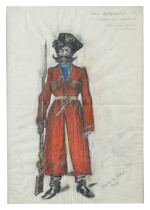 NIKOLAI ALEXANDROVICH BENOIS (1901-1988) COSTUME DESIGN FOR A COSSACK GUARD IN DUBROVSKY