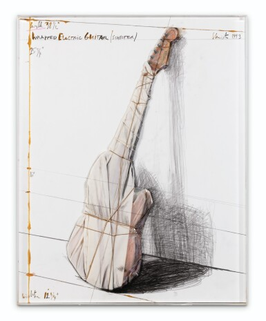 View 2. Thumbnail of Lot 131. i: Wrapped Electric Guitar (Schecter); ii. Study for Wrapped Electric Guitar (Schecter) [2 oeuvres].