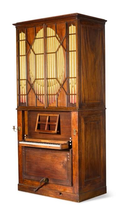 View 3. Thumbnail of Lot 167. A George III mahogany chamber organ by Hugh Russell, 1780.