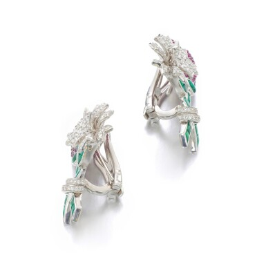 View 2. Thumbnail of Lot 11. MICHELE DELLA VALLE | PAIR OF RUBY, EMERALD AND DIAMOND EAR CLIPS.