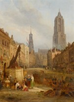 FOLLOWER OF DAVID ROBERTS | A view of Utrecht, with the Dom Tower of St. Martin's Cathedral