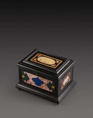 View 5. Thumbnail of Lot 179. An Italian pietra paesina and hardstones inlaid ebonised casket, the panel in the lid, Florence, 18th century, the other panels, Rome and 17th century; the casket late 19th century/early 20th century.