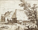 View of Thatched Farm Buildings, with a farmer and his Dog in the Foreground
