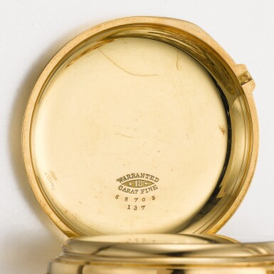 View 5. Thumbnail of Lot 12. ALBERT H. POTTER & CO., GENEVA  [ Albert H. Potter & Co.,日內瓦] | A RARE GOLD HUNTING CASED KEYLESS POCKET CHRONOMETER  CIRCA 1885, NO. 85  [ 罕有黃金精密計時懷錶,年份約1885,編號85].