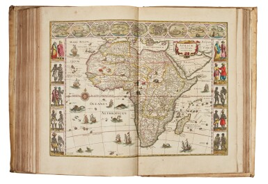 View 5. Thumbnail of Lot 53. BLAEU | Theatrum Orbis Terrarum. Amsterdam, 1640-1654, 5 volumes, folio, contemporary Dutch vellum gilt.