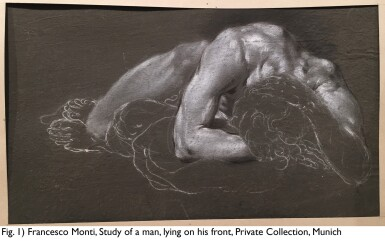 View 5. Thumbnail of Lot 107. FRANCESCO MONTI  |  RECTO: A CROUCHING MAN, SEEN FROM ABOVE; VERSO: STUDY OF LEGS.