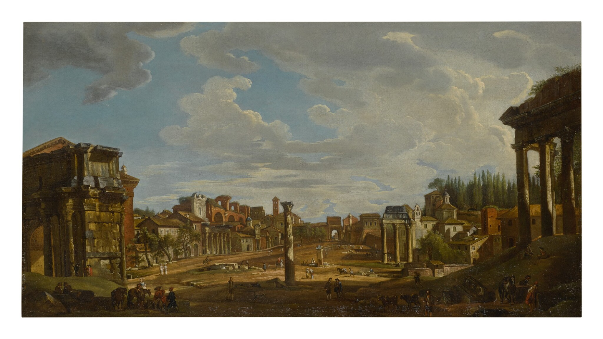 View full screen - View 1 of Lot 630. ROMAN SCHOOL, 18TH CENTURY   A VIEW OF THE ROMAN FORUM.