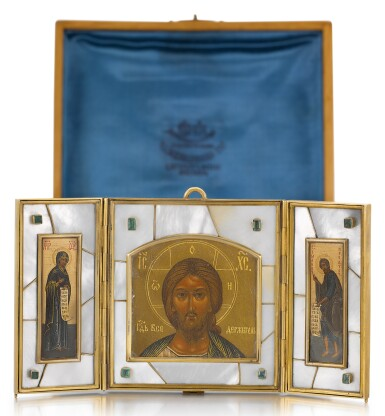 View 1. Thumbnail of Lot 508. A GEM-SET SILVER-GILT AND MOTHER OF PEARL TRAVELLING TRIPTYCH ICON, OLOVYANISHNIKOV AND SONS, MOSCOW, 1908-1917.