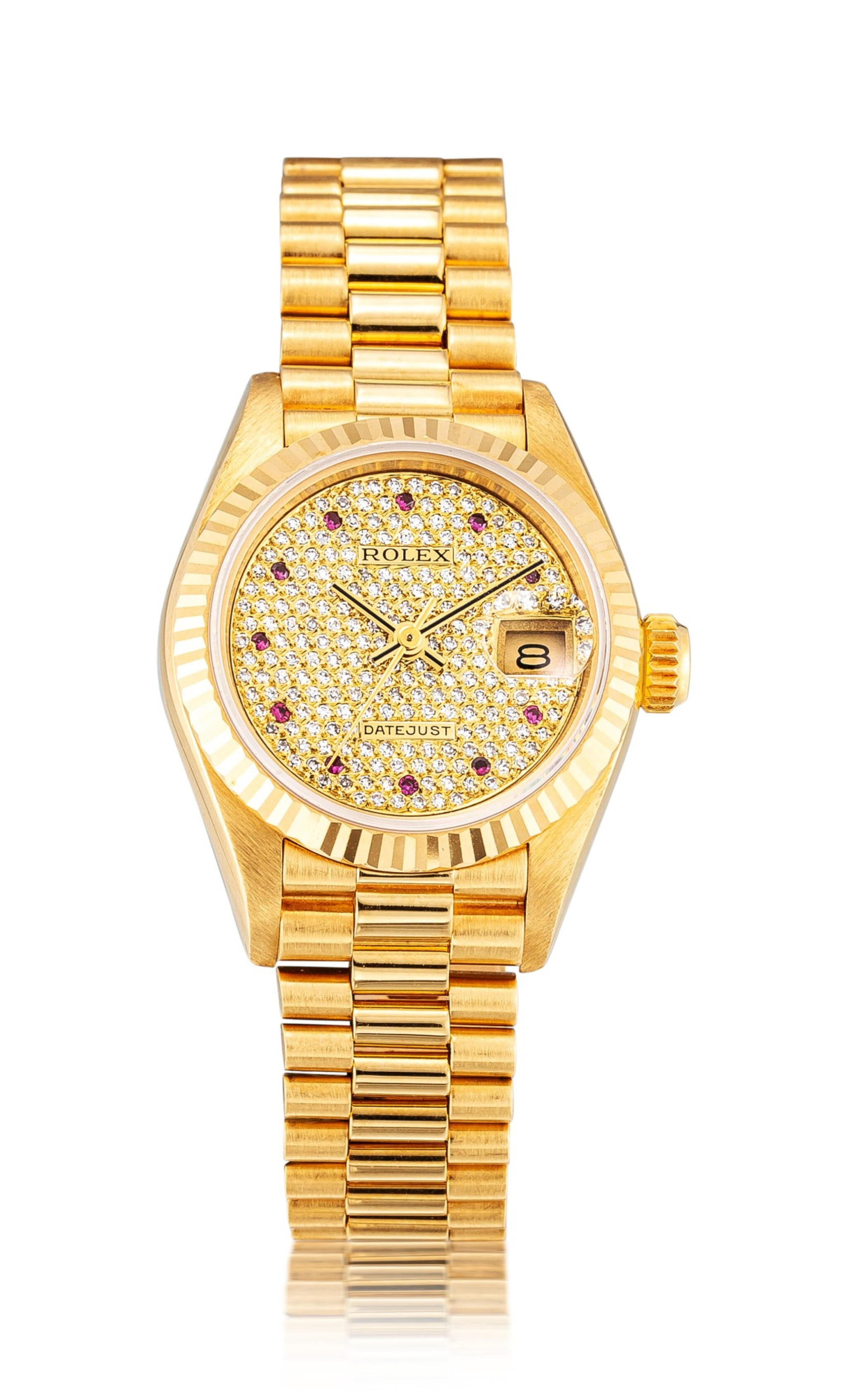 View full screen - View 1 of Lot 8135. ROLEX   DATEJUST, REFERENCE 69178   A YELLOW GOLD, DIAMOND AND RUBY-SET WRISTWATCH WITH DATE AND BRACELET, CIRCA 1987   勞力士   Datejust 型號69178   黃金鑲鑽石及紅寶石鏈帶腕錶,備日期顯示,約1987年製.