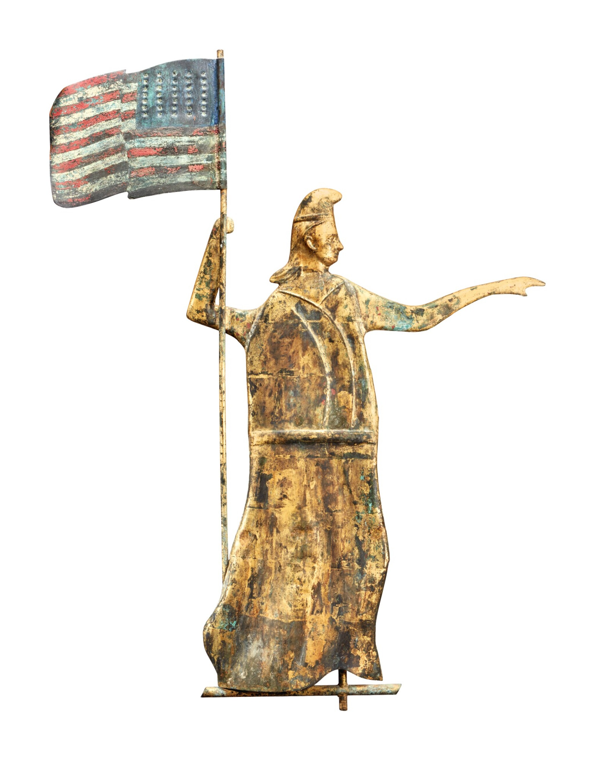 Fine and Rare Molded Copper 'Goddess of Liberty' Weathervane, Possibly J.L. Mott Iron Works, New York, circa 1880