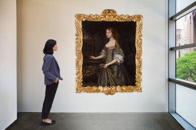 View 4. Thumbnail of Lot 38. Portrait of Jane Monins (c.1640-99), three-quarter length, in a blue and gold dress.