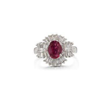 View 1. Thumbnail of Lot 55. RUBY AND DIAMOND RING.