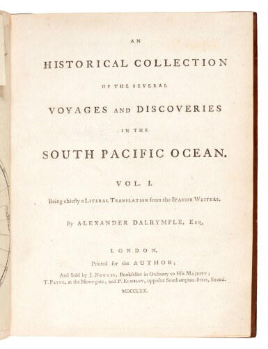 View 1. Thumbnail of Lot 43. DALRYMPLE   An historical collection of the several voyages and discoveries in the South Pacific Ocean, 1770-1771.