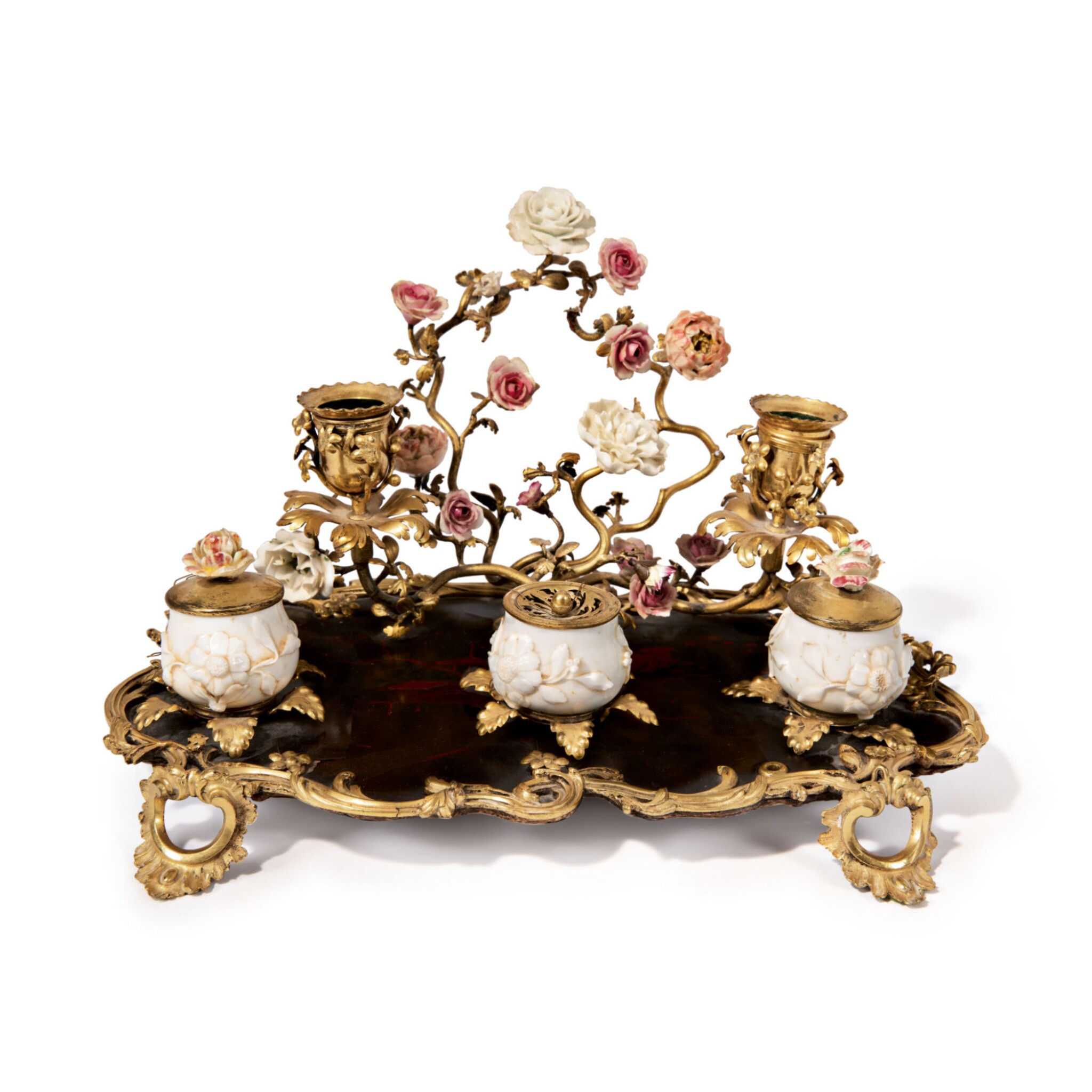 View full screen - View 1 of Lot 723. A LOUIS XV GILT BRONZE, LACQUER AND PORCELAIN-MOUNTED INKSTAND, MID-18TH CENTURY.
