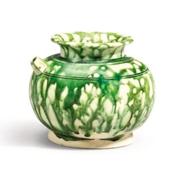 View 1. Thumbnail of Lot 239. A RARE GREEN-SPLASHED EWER, TANG DYNASTY | 唐 白釉綠彩執壺.