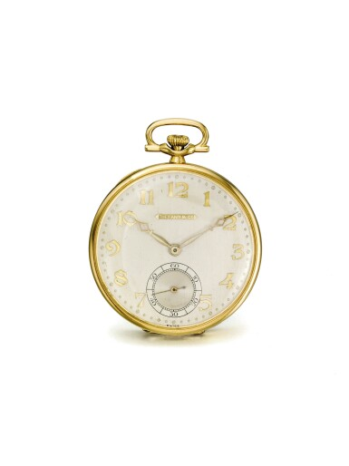View 1. Thumbnail of Lot 58. LONGINES | RETAILED BY TIFFANY & CO.: A PLATINUM AND YELLOW GOLD OPEN FACED WATCH CIRCA 1925.