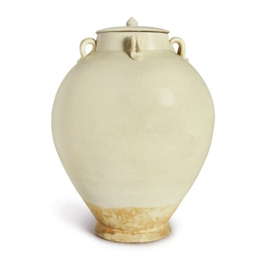 A WHITE-GLAZED HANDLED JAR AND COVER, TANG DYNASTY