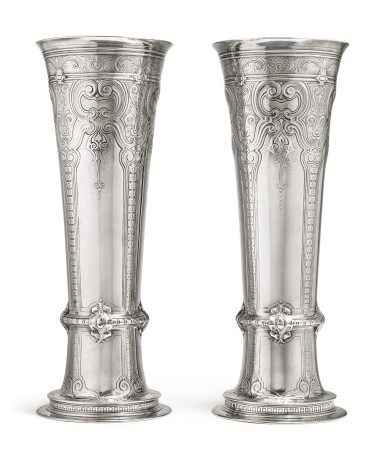 View 1. Thumbnail of Lot 431. A Massive Pair of American Silver Tall Vases, Tiffany & Co., New York, circa 1909.