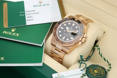 View 8. Thumbnail of Lot 15. ROLEX | REFERENCE 126715 GMT-MASTER II 'ROOT BEER' A PINK GOLD AUTOMATIC DUAL TIME ZONE WRISTWATCH WITH DATE AND BRACELET, CIRCA 2018.