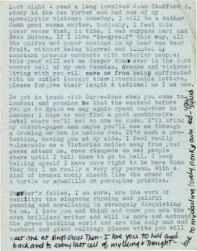 """View 4. Thumbnail of Lot 13. Sylvia Plath   Typed letter signed, to Ted Hughes, """"we will burn love to death all our long lives"""", 10 October 1956."""