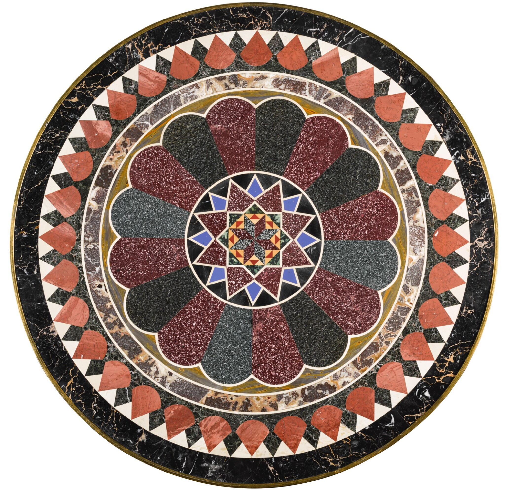AN ITALIAN RED AND GREEN PORPHYRY, VITREOUS PASTE AND MARBLE TABLE TOP, ROME, ATTRIBUTED TO FRANCESCO SIBILIO FIRST HALF 19TH CENTURY, ON A LATER EMPIRE STYLE GILT-BRONZE AND MAHOGANY BASE