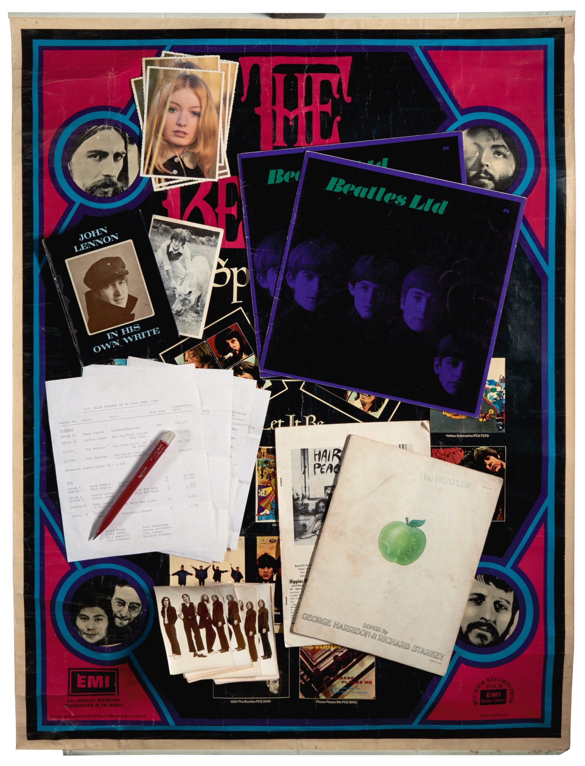 THE BEATLES   Publicity material including photos and poster, 1967-1971