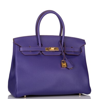 View 2. Thumbnail of Lot 19. Hermès Iris Birkin 35cm of Togo Leather with Gold Hardware.