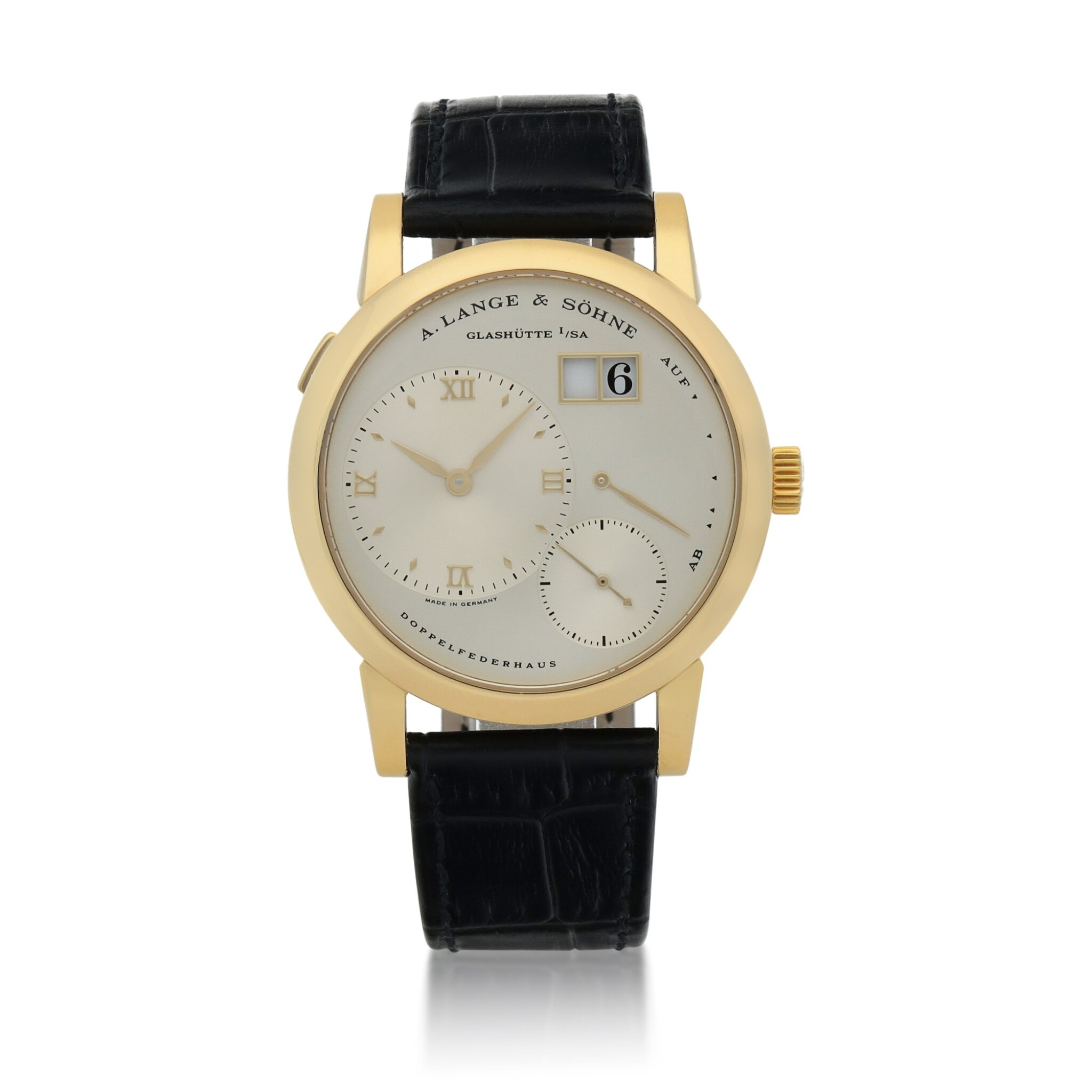 View full screen - View 1 of Lot 432. Lange 1, Ref. 101.021 Yellow gold wristwatch with digital date display and power reserve indication Circa 2001 | 朗格 101.021型號「Lange 1」黃金腕錶備數字日期及動力儲存顯示,年份約2001.
