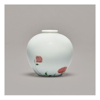 View 2. Thumbnail of Lot 114. A RARE AND EXCEPTIONAL UNDERGLAZE-RED AND FAMILLE-VERTE 'ROSE' VASE,  KANGXI MARK AND PERIOD.