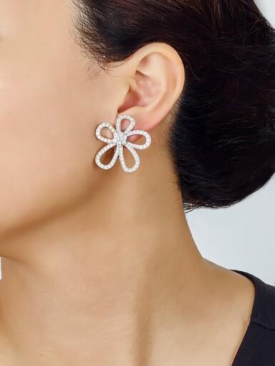 View 4. Thumbnail of Lot 9102. PAIR OF DIAMOND EAR CLIPS, VAN CLEEF & ARPELS   鑽石耳環一對, 梵克雅寶(Van Cleef & Arpels).