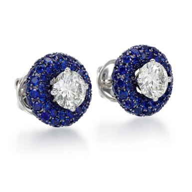 View 2. Thumbnail of Lot 306. GRAFF   PAIR OF SAPPHIRE AND DIAMOND EARRINGS.