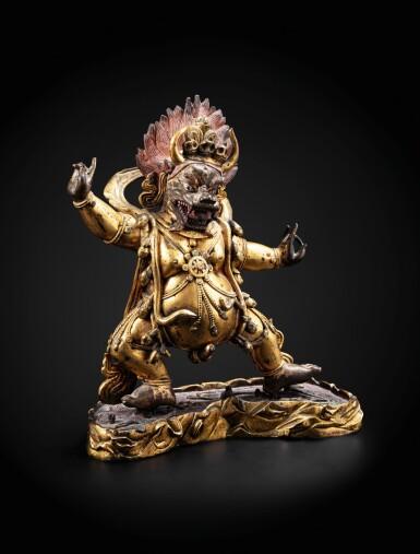 View 1. Thumbnail of Lot 28. A large gilt-bronze figure of Yama Dharmaraja Qing dynasty, 18th century   清十八世紀 鎏金銅閻摩法王立像.