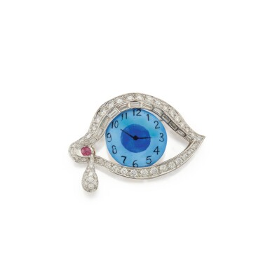 View 1. Thumbnail of Lot 460. Henryk Kaston for Salvador Dalí | Enamel, Diamond and Ruby 'Eye of Time' Brooch.