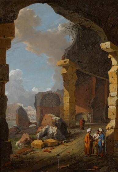 View 1. Thumbnail of Lot 81. BARTHOLOMEUS BREENBERGH | Roman ruins with turbaned figures.