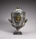 ITALIAN, ROME, CIRCA 1800 | URN CARVED WITH VINES OF PARADISE AND PLAQUES WITH AN IDEAL MAIDEN AND A YOUTH