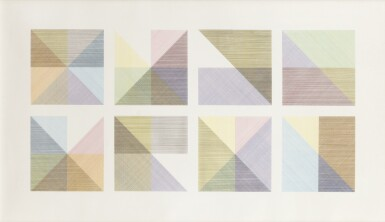 SOL LEWITT | EIGHT SQUARES WITH A DIFFERENT COLOR IN EACH HALF SQUARE (DIVIDED VERTICALLY AND HORIZONTALLY) COMPOSITE